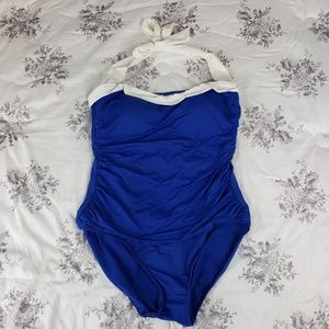 Ralph Lauren Blue Wht Nautical One Piece Swimsuit